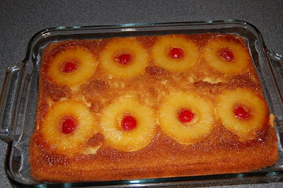 A view of Pineapple Upside Down Cake