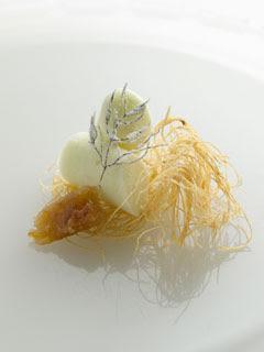 Frozen fennel sorbet dessert