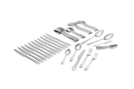 Ginkgo Flatware Set – 74 Piece Hammered Flatware Set