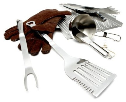 Stainless Steel BBQ Tool Set with Leather Gloves