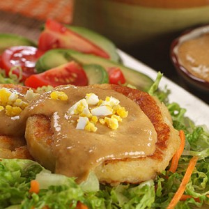 Potato Cakes with Peanut Sauce